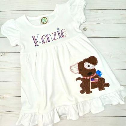 Patriotic Puppy Dress / Embroidered..