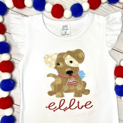 Patriotic Puppy Shirt / Embroidered..