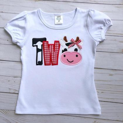 Cow Birthday Shirt / Embroidered Bi..