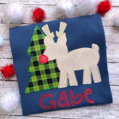Christmas Reindeer Shirt / Embroide..