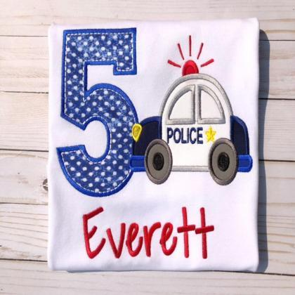 Police Birthday Shirt / Embroidered..