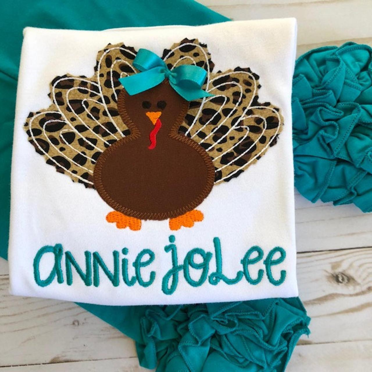 Thanksgiving Turkey Shirt / Embroidered Thanksgiving shirt Shirt / Custom Thanksgiving Shirt / Custom Turkey Shirt / Girly turkey Shirt