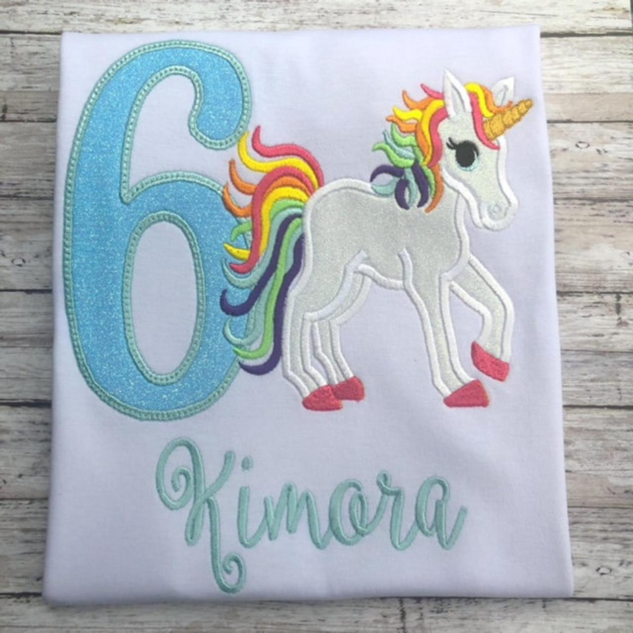 Unicorn Birthday Shirt / Embroidered Birthday Shirt / Rainbow Unicorn Birthday Shirt / Custom Embroidered Shirt / Birthday Shirt / Monogram.