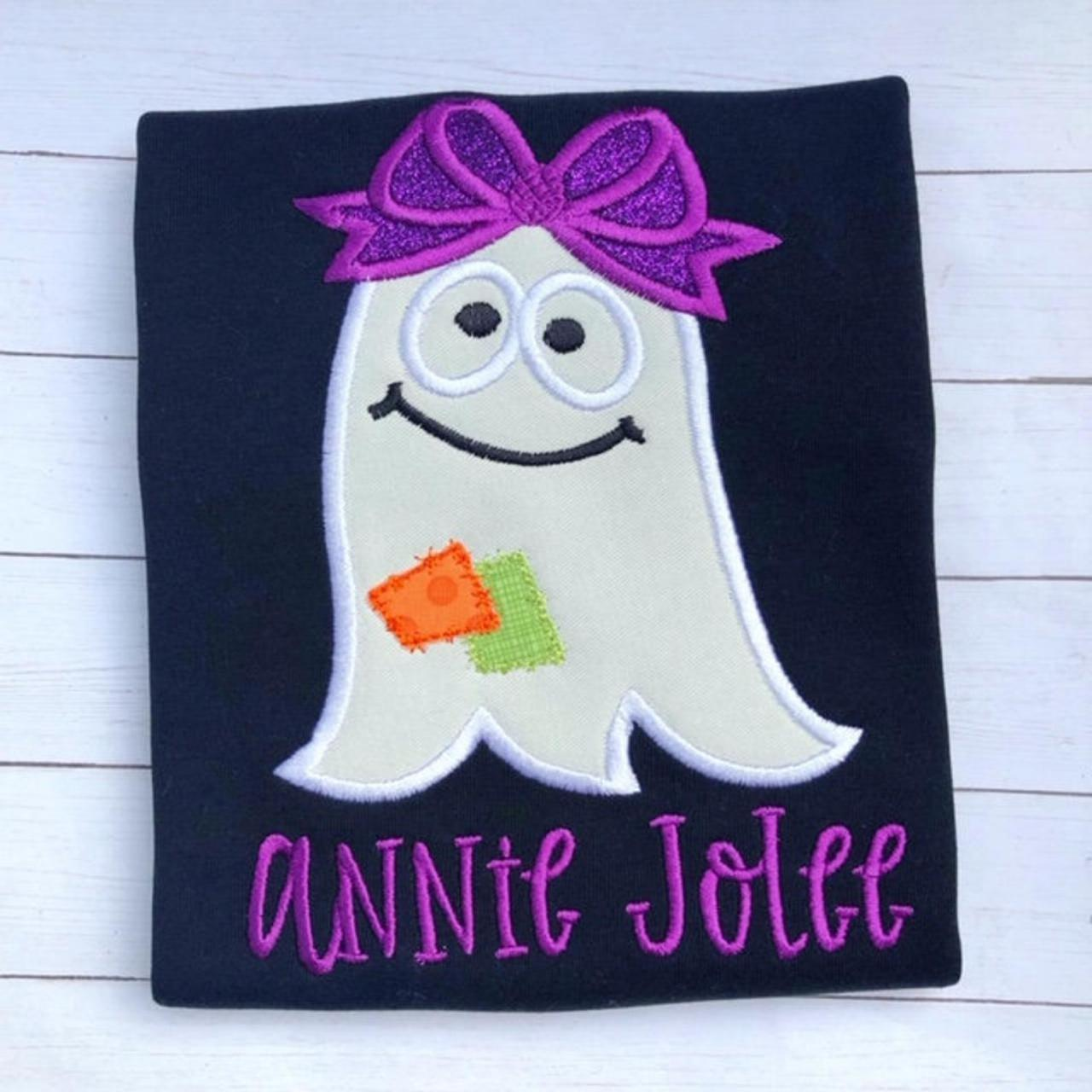 Halloween Ghost Shirt / Girly Ghost Shirt / Ghost Shirt / Ghost with Bow Shirt / Custom Embroidered Shirt / Girly Halloween Shirt / Monogram