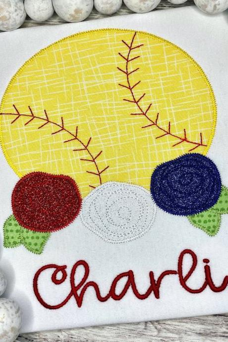 Softball Shirt / Embroidered Floral Softball Shirt / Custom Softball Shirt / Custom Embroidered Shirt / Floral Shirt / Monogram
