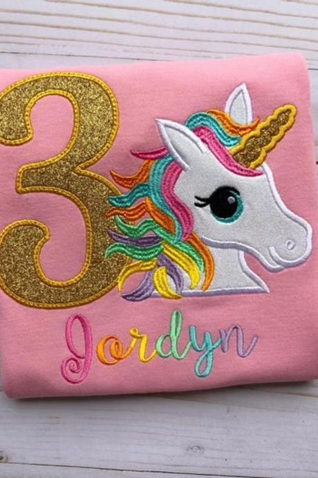 Unicorn Birthday Shirt / Embroidered Birthday Shirt / Rainbow Unicorn Birthday Shirt / Custom Embroidered Shirt / Birthday Shirt / Monogram