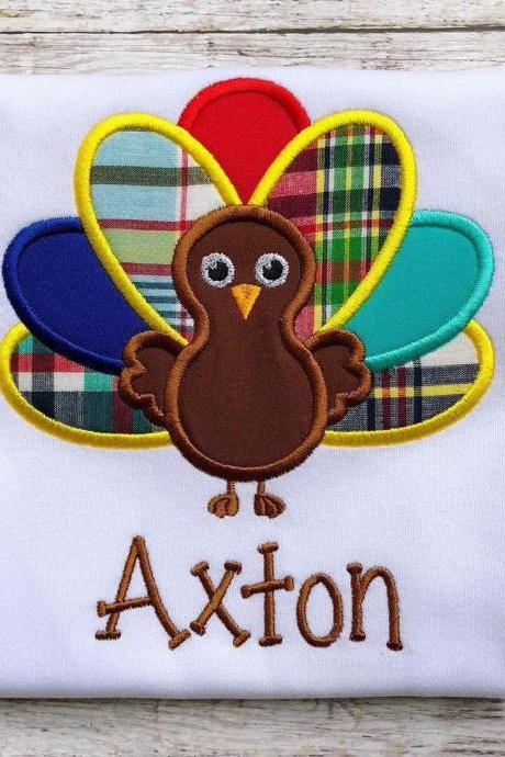 Turkey shirt / Thanksgiving Turkey Shirt / Thanksgiving Shirt / Boys Turkey Shirt / Custom Embroidered Shirt / Boy Fall Shirt / Monogram