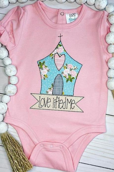 Love Lifted Me bodysuit / Embroidered Girly Inspirational Shirt / Custom Church Shirt / Custom Embroidered Shirt / Church Shirt / Monogram