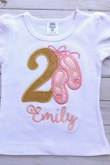 Ballerina Birthday Shirt / Embroidered Birthday Shirt / Ballet Birthday Shirt / Custom Embroidered Shirt / Birthday Shirt / Monogram