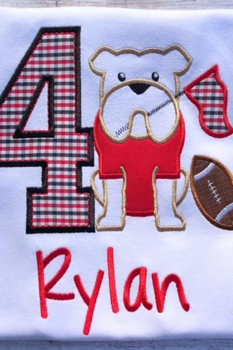 Bulldog Birthday Shirt / Embroidered Birthday Shirt / Georgia Bulldog Birthday Shirt / Dawg Birthday Shirt / Birthday Shirt / Monogram