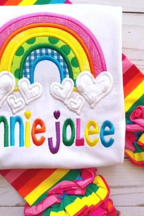 Rainbow Shirt / Embroidered Girly Rainbow Shirt / Custom Rainbow Shirt / Custom Embroidered Shirt / Rainbow Shirt / Monogram