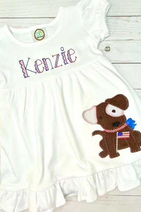 Patriotic Puppy Dress / Embroidered Patriotic Dress / Patriotic Dog Dress / Custom Embroidered Ruffle Dress / Independence Day / Monogram