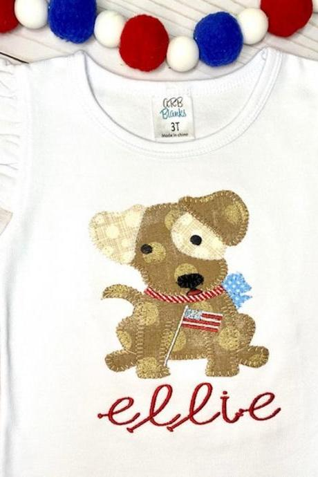 Patriotic Puppy Shirt / Embroidered Patriotic Shirt / Patriotic Dog Shirt / Custom Embroidered Shirt / Independence Day Shirt / Monogram