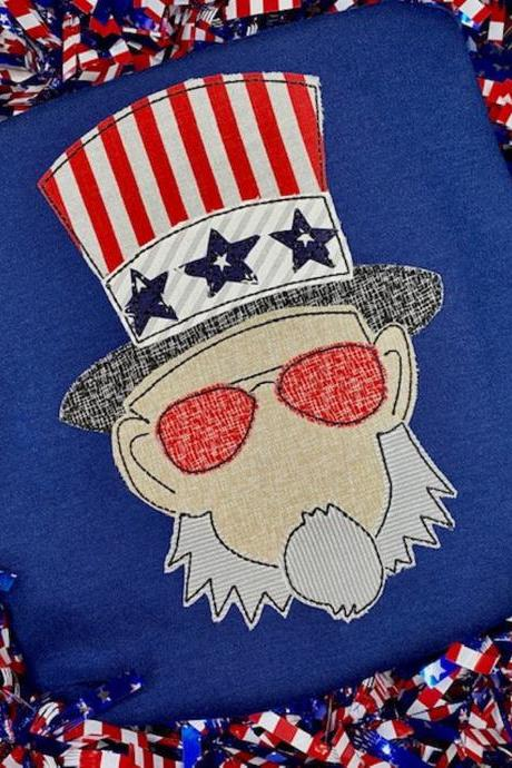 Patriotic Uncle Sam Shirt /Patriotic Embroidered Shirt / Uncle Sam Shirt /Independence Day Shirt / Custom Shirt / Patriotic Shirt / Monogram