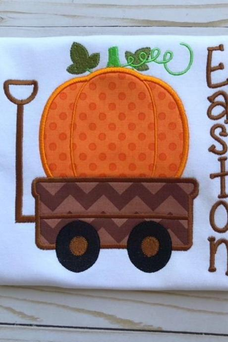 Pumpkin Wagon Shirt / Fall Shirt /Pumpkin Shirt / Wagon Shirt / Custom Embroidered Shirt / Boy Fall Shirt / Monogram
