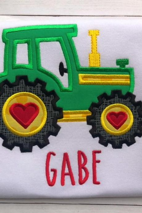 Valentine Tractor Shirt / Embroidered Valentine Shirt / Tractor Shirt / Custom Embroidered Shirt / Valentine Shirt / Monogram