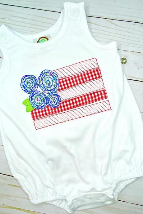 Patriot Flag Romper / Patriotic Sun Bubble / Romper / Toddler Romper / Summer Outfit / Summer Romper / Sun Bubble / Flag with Bow Romper.