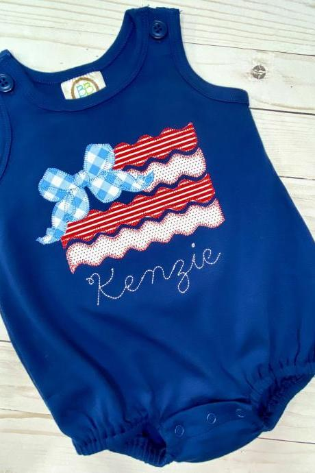 Patriot Flag Romper / Patriotic Sun Bubble / Romper / Toddler Romper / Summer Outfit / Sun Bubble / Flag with Bow Romper.
