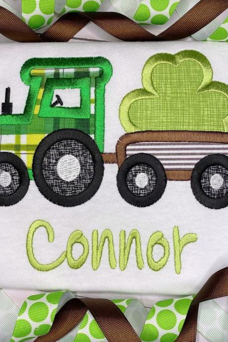 St. Patrick's Day Shirt / Embroidered Tractor Shirt / Shamrock Shirt / Custom Embroidered Shirt / Shamrock Tractor Shirt / Monogram Shirt.