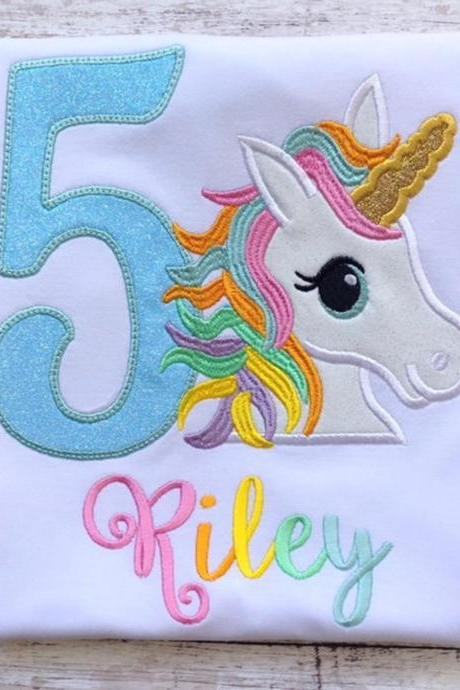 Unicorn Birthday Shirt / Embroidered Birthday Shirt / Rainbow Unicorn Birthday Shirt / Custom Embroidered Shirt / Monogram Birthday Shirt