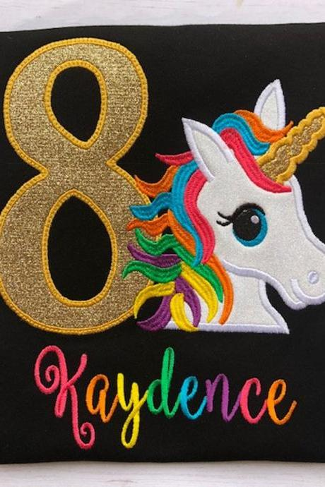 Unicorn Birthday Shirt / Embroidered Birthday Shirt / Rainbow Unicorn Birthday Shirt / Custom Monogram Embroidered Shirt / Birthday Shirt
