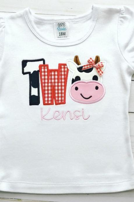 Cow Birthday Shirt / Embroidered Birthday Shirt / Barnyard Birthday Shirt / Custom Embroidered Shirt / Birthday Shirt / Monogram
