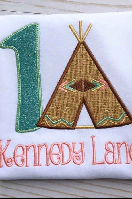 Birthday Teepee Shirt / Embroidered Birthday Shirt / Boho Birthday Shirt / Custom Embroidered Shirt / Birthday Shirt / Monogram