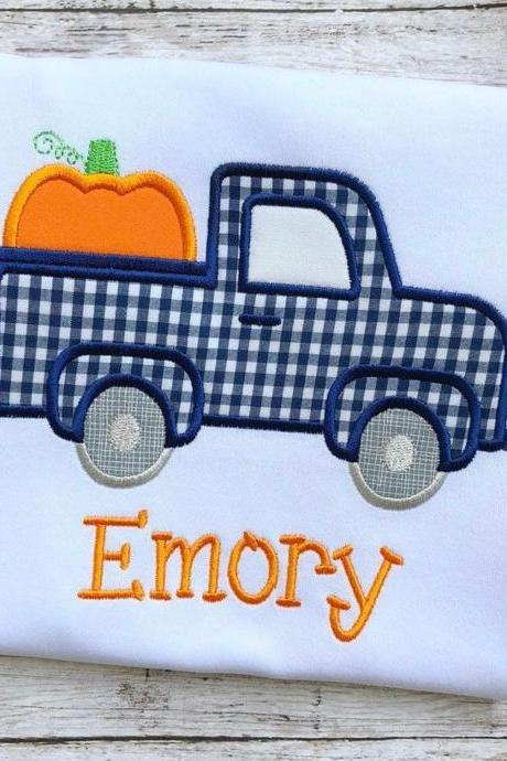 Pumpkin Truck Shirt / Fall Shirt /Pumpkin Shirt / Truck Shirt / Custom Embroidered Shirt / Boy Fall Shirt / Monogram
