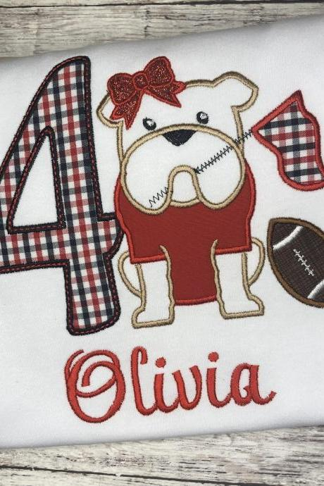 Bulldog Birthday Shirt / Embroidered Birthday Shirt / Girly Bulldog Birthday Shirt / Custom Embroidered Shirt / Birthday Shirt / Monogram
