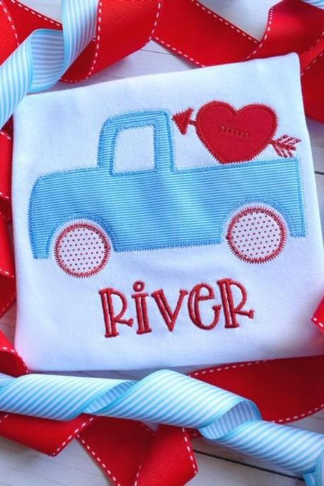 Valentine Truck Shirt / Embroidered Valentine Shirt / Truck Shirt / Custom Embroidered Shirt / Valentine Shirt / Monogram