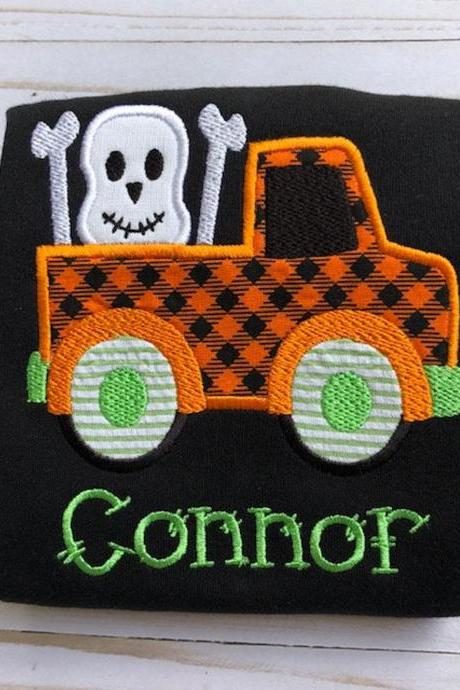 Skeleton Shirt / Halloween Shirt / Skeleton Truck Shirt / Halloween Truck Shirt / Custom Embroidered Shirt / Boy Halloween Shirt / Monogram
