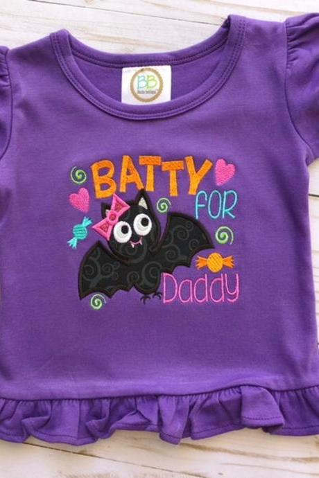 Batty for Daddy shirt / Halloween Shirt / Embroidered Halloween Shirt / Halloween / Custom Embroidered Shirt / Monogram