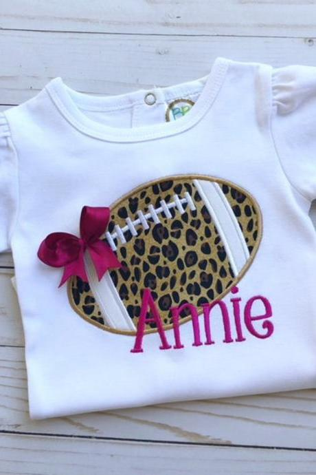 Girly Football Shirt / Embroidered Cheetah Football Shirt / Custom Football Shirt / Custom Embroidered Shirt / Cheetah Shirt / Monogram