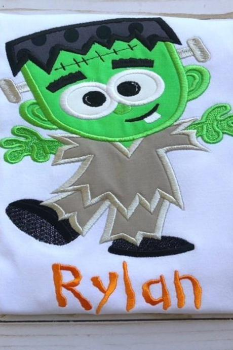 Frankenstein Shirt / Halloween Shirt / Cute Frankenstein Shirt / Monster Shirt / Custom Embroidered Shirt / Boy Halloween Shirt / Monogram