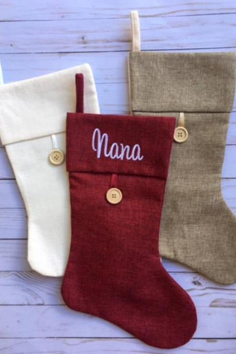Personalized Christmas Stocking /Embroidered Christmas Stockings / Monogrammed Stocking / Family Stockings / Burlap Stocking