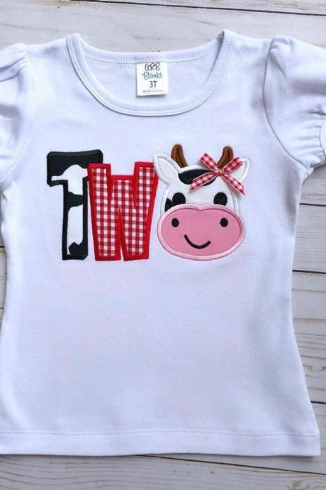 Cow Birthday Shirt / Embroidered Birthday Shirt / Barnyard Birthday Shirt / Custom Embroidered Shirt / Birthday Shirt / Monogram Shirt.