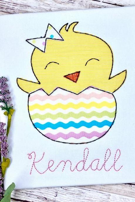 Easter Chick Shirt / Easter Shirt /Bunny Shirt / Easter Girly Shirt / Custom Embroidered Shirt / Girl Easter Shirt / Monogram