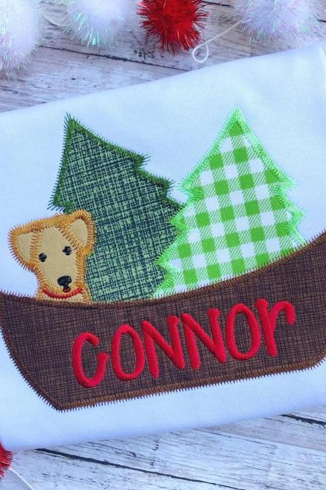 Christmas Dog Shirt / Embroidered Christmas Shirt / Christmas boat Shirt / Custom Embroidered Shirt / Christmas Shirt / Monogram