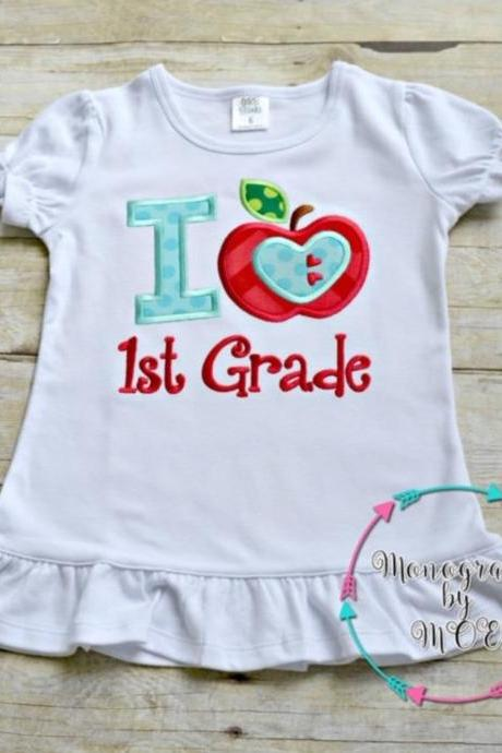 I Love First Grade Shirt / Embroidered School Shirt / Back to School Shirt / Custom Embroidered Shirt / First Grade Shirt / School Shirt