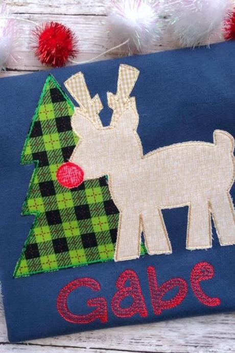 Christmas Reindeer Shirt / Embroidered Christmas Shirt / Christmas Tree Shirt / Custom Embroidered Shirt / Christmas Shirt / Monogram