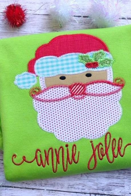 Christmas Santa Shirt / Santa shirt / Embroidered Christmas Shirt / Custom Embroidered Shirt / Christmas Shirt / Monogram