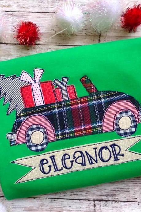 Christmas tree Shirt / Christmas car shirt / Embroidered Christmas Shirt / Custom Embroidered Shirt / Christmas Shirt / Monogram
