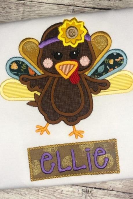Thanksgiving Turkey Shirt / Embroidered Thanksgiving shirt Shirt / Custom Thanksgiving Shirt / Custom Turkey Shirt / Girly turkey Shirt.