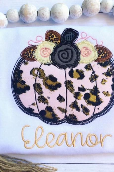 Cheetah Pumpkin Shirt / Embroidered Pumpkin Shirt / Custom Pumpkin Shirt/ Girly pumpkin Shirt/ Floral Pumpkin Shirt / Pumpkin Shirt