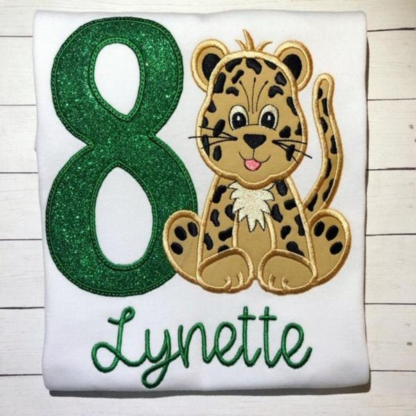 Cheetah Birthday Shirt / Embroidered Birthday Shirt. / Leopard Birthday Shirt / Custom Embroidered Shirt / Birthday Shirt / Monogram