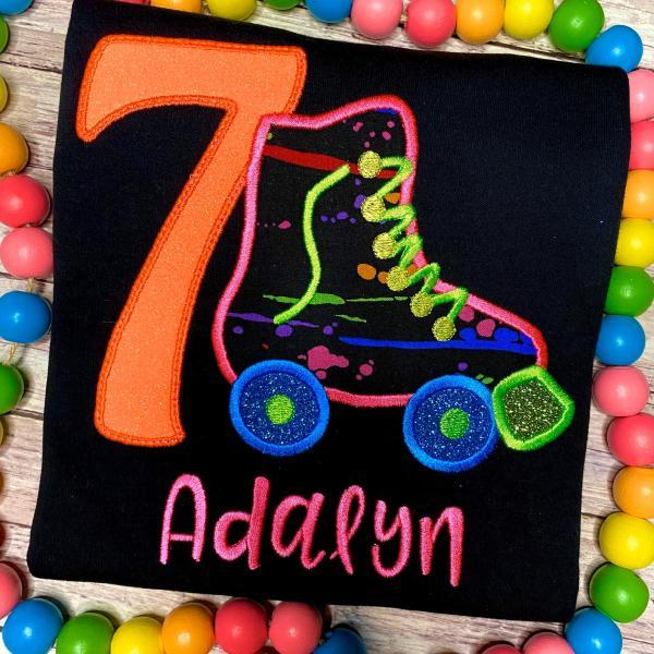 Neon Birthday Shirt / Roller Skate Birthday Shirt. / Skate Birthday Shirt / Custom Embroidered Birthday Shirt / Birthday Shirt / Monogram